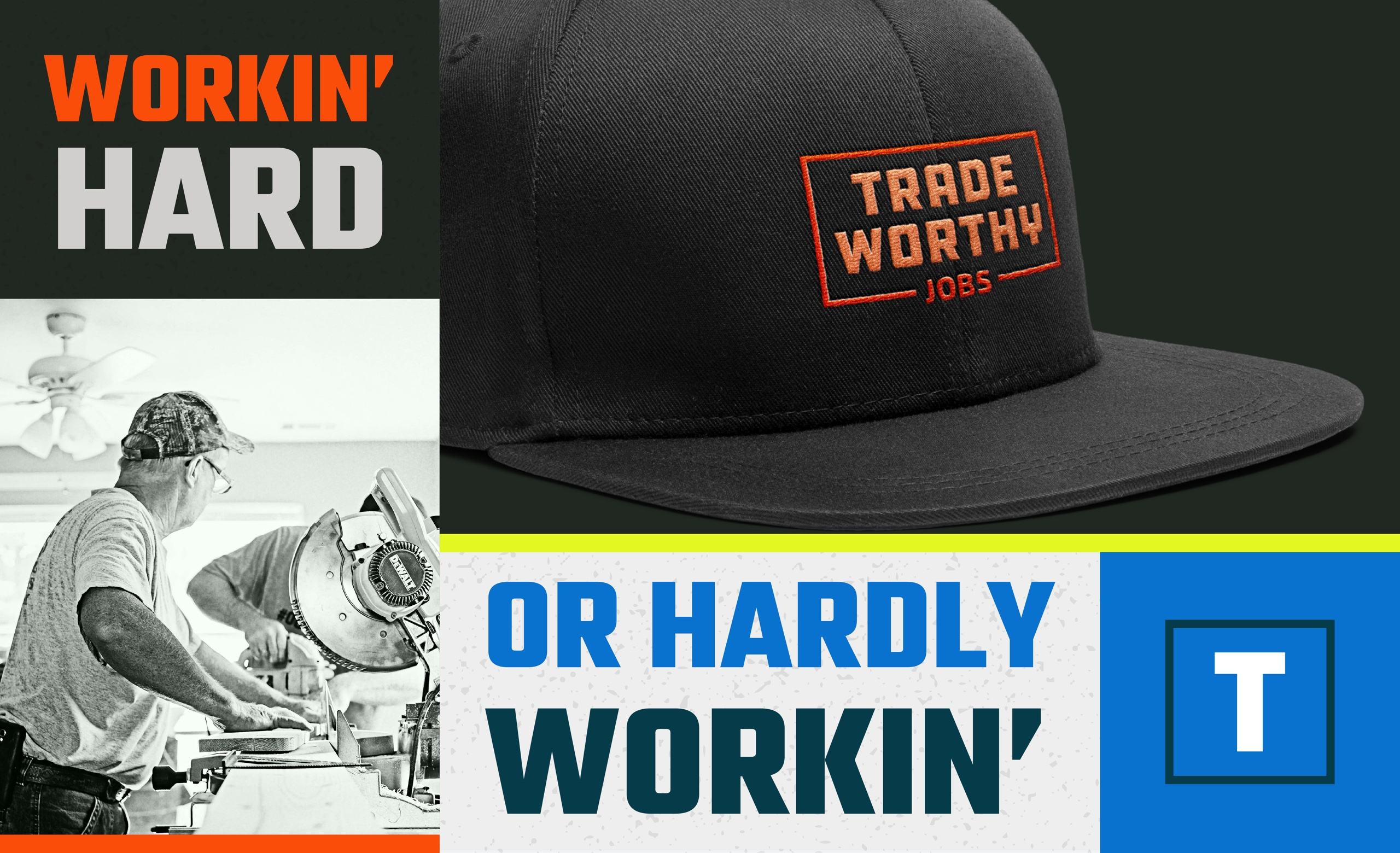 A collage of Tradeworthy Jobs's brand elements.