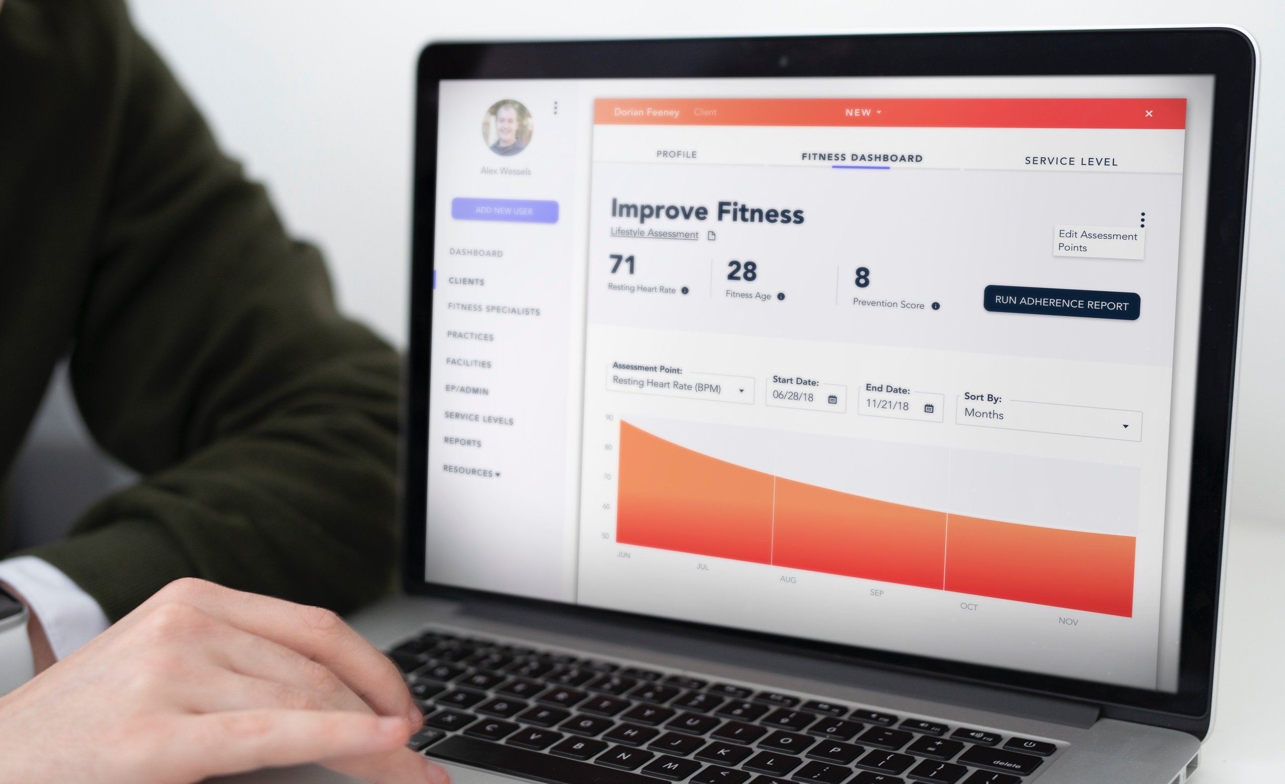 Physician looking at fitness dashboard