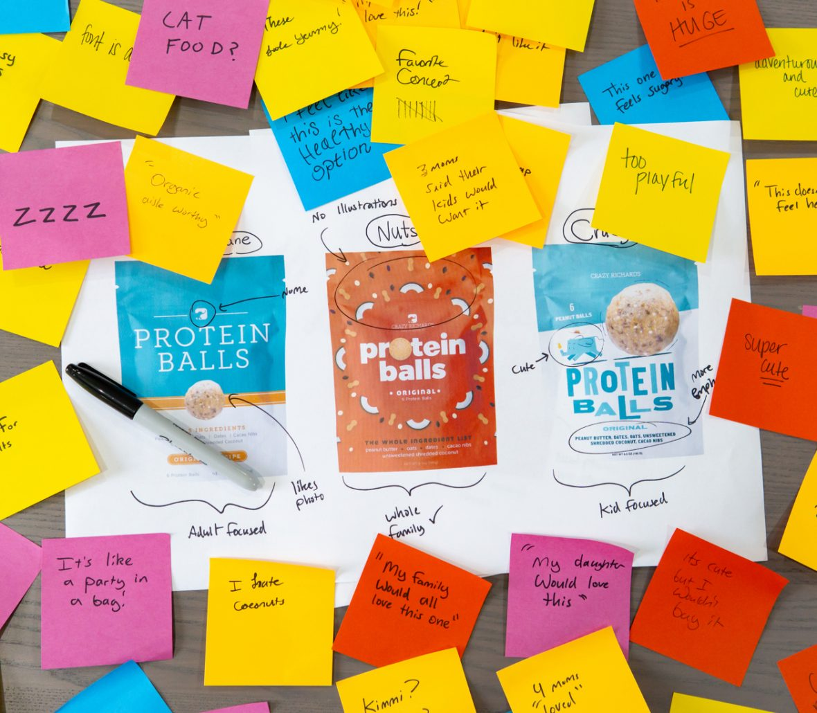 3 concepts with post it notes attached around them