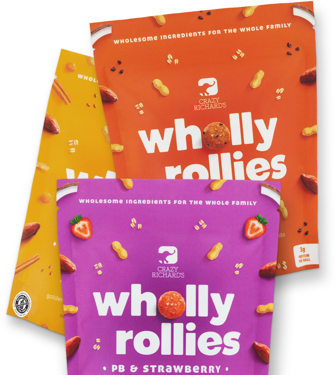 Wholly Rollies bags stacked on top of each other