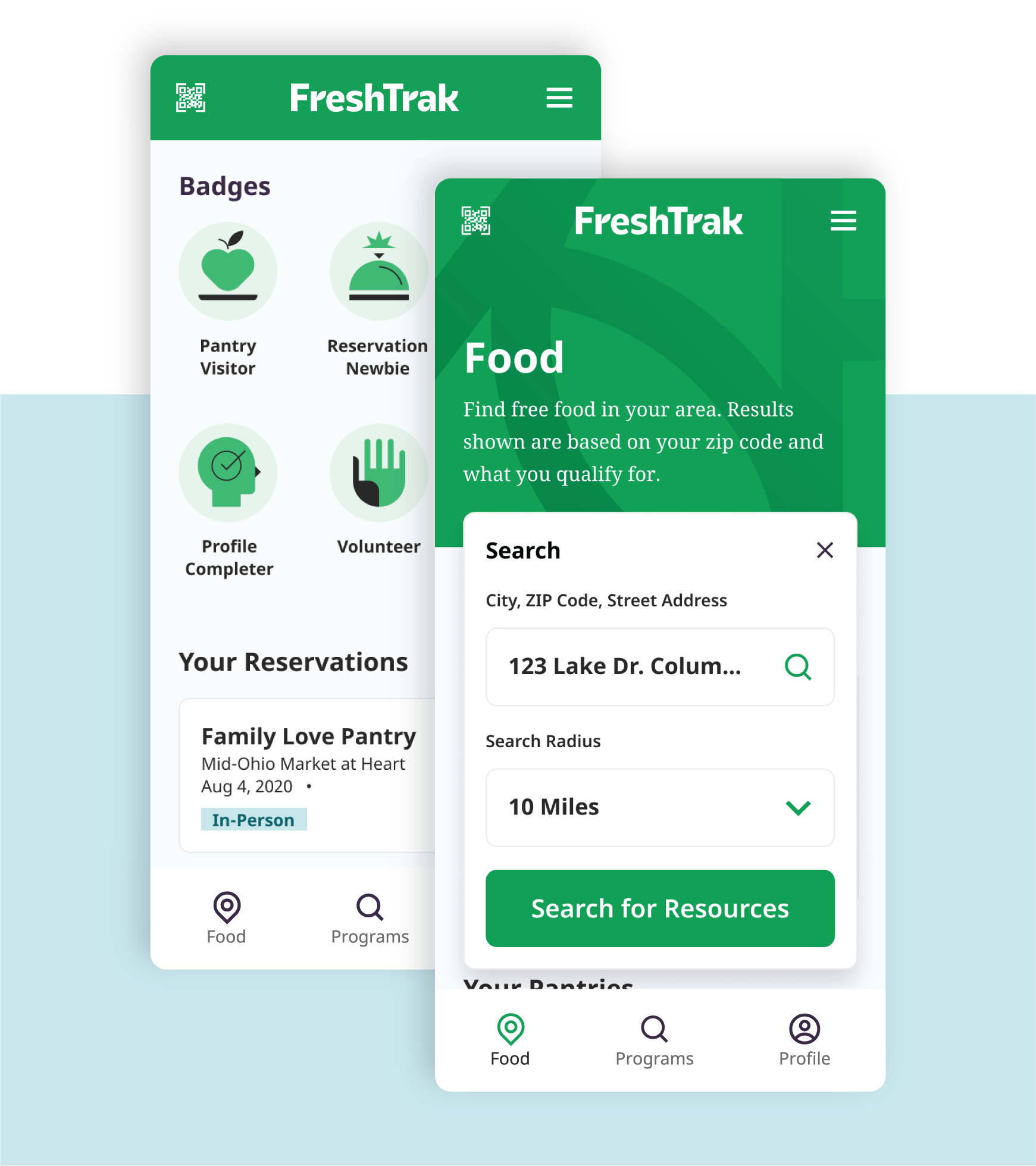 FreshTrak Mobile Screens