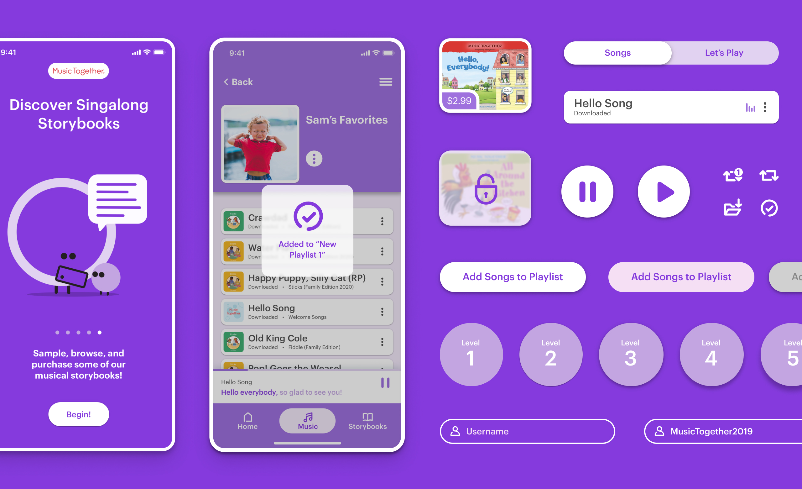 A grid of UI components used on the Hello Everybody app