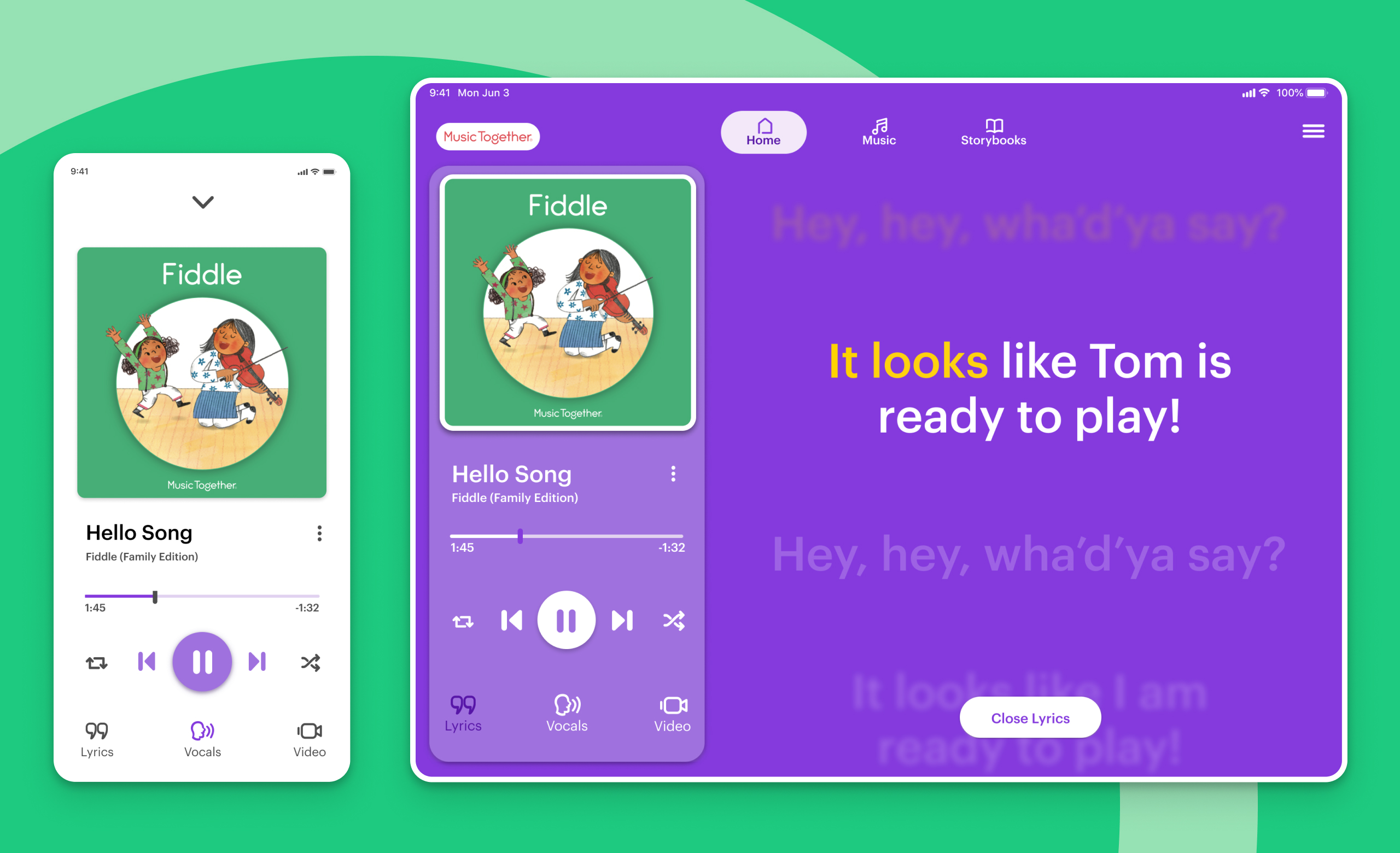 Music Together iPhone and iPad play screen mockup