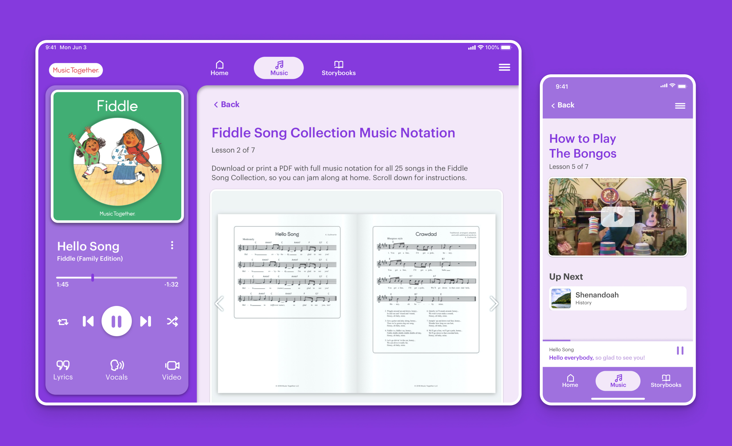 The app's music education section of the app on iPhone and iPad